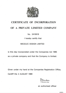 Mecelec Design Certificate of Incorporation