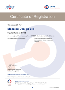 Mecelec Design Certificate of Registration